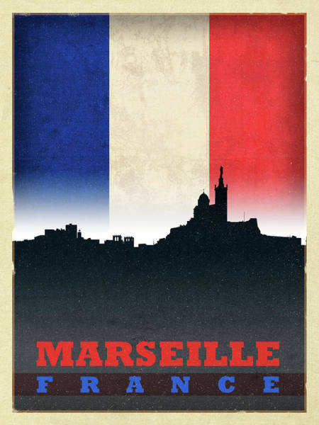 Wall Art - Mixed Media - Marseille France City Skyline Flag by Design Turnpike