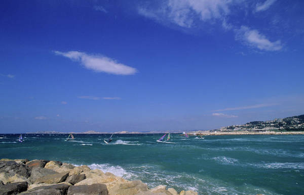 Windsurfing Photograph - Marseille, Windsurfers by P. Eoche