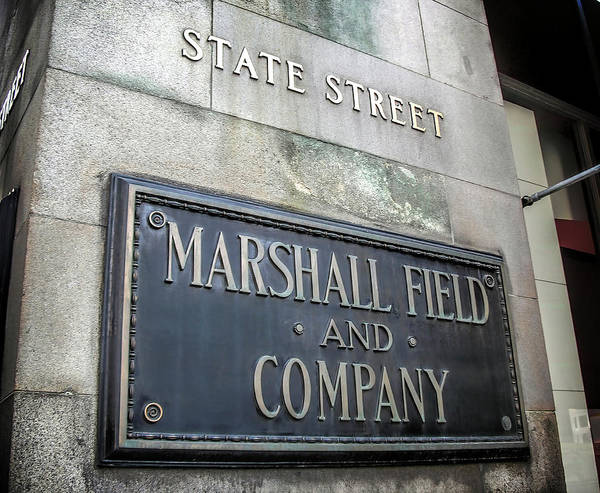 Wall Art - Photograph - Marshall Fields State Street Placard - Chicago by Daniel Hagerman