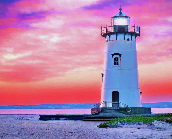 Wall Art - Painting - Martha's Vineyard Lighthouse At Sunset by Russ Harris