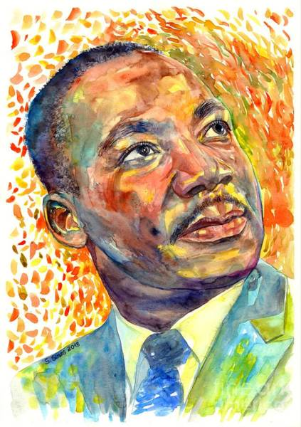 Wind Painting - Martin Luther King Jr Portrait by Suzann's Art