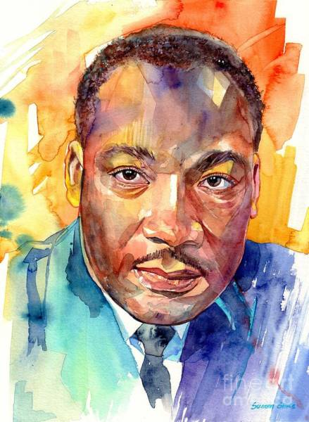 Wall Art - Painting - Martin Luther King Jr Watercolor by Suzann Sines