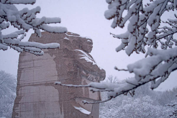 Photograph - Martin Luther King Memorial In The Snow by Marvin Bowser
