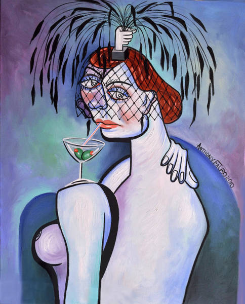 Painting - Martine And A Black Feathered Hat by Anthony Falbo