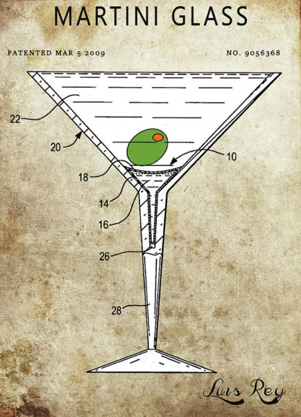 Wall Art - Drawing - Martini Glass Patent by Dan Sproul