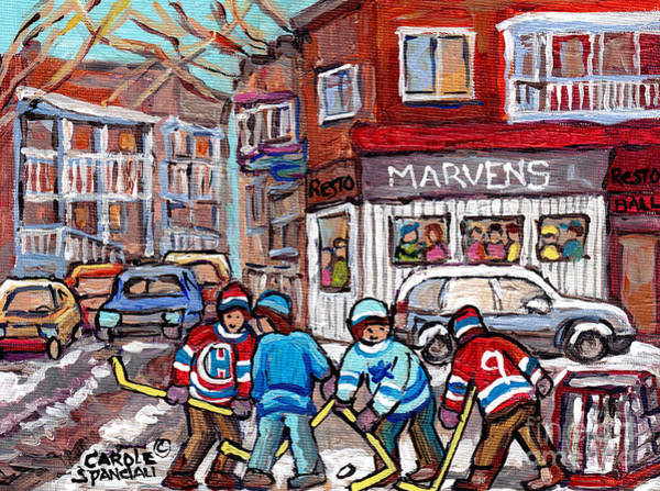 Painting - Marven's Greek Restaurant Park Ex Paintings Montreal Winterscenes Hockey Art C Spandau Streetscenes by Carole Spandau
