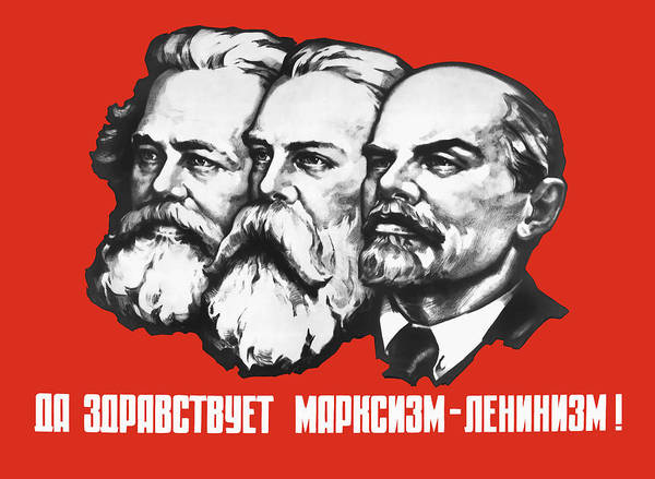 Engels Painting - Marx - Engels - Lenin - Soviet Propaganda Poster by War Is Hell Store