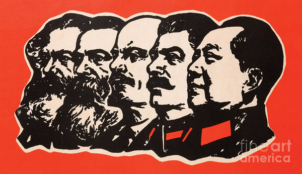 Wall Art - Painting - Marx Engels Lenin Stalin And Mao by Chinese School