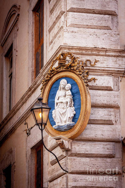 Photograph - Mary And Child Art Medallion - Rome Italy by Brian Jannsen