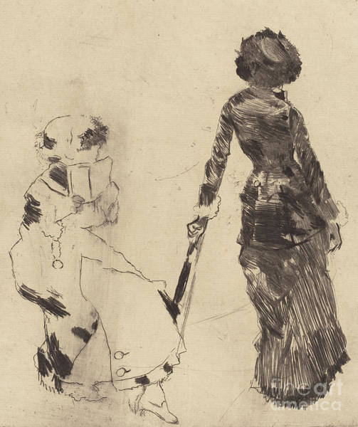 Wall Art - Drawing - Mary Cassatt At The Louvre  The Etruscan Gallery by Edgar Degas