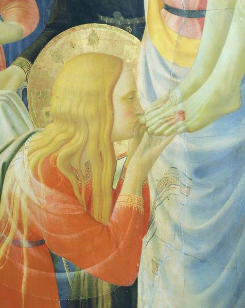 Wall Art - Painting - Mary Magdalene Kissing The Feet Of Jesus Christ, Detail From Deposition From Cross By Fra Angelico by Fra Angelico