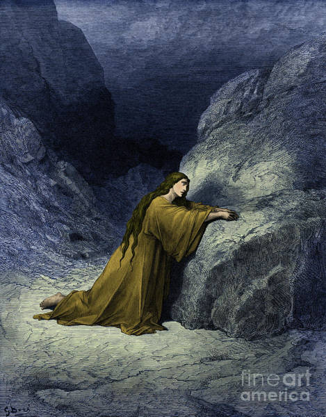 Wall Art - Drawing - Mary Magdalene, The Repentant Sinner  Bible by Gustave Dore