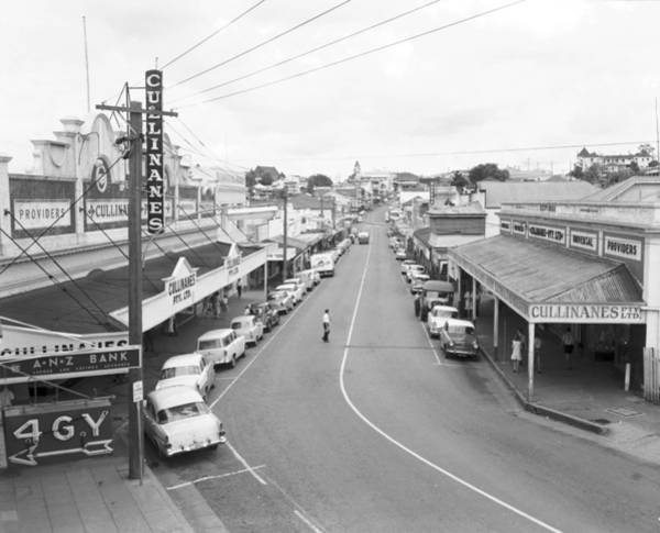 Wall Art - Painting - Mary Street  Gympie 1962 Looking West From Near Smithfield Street Towards Monkland Street by Celestial Images