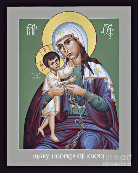 Painting - Mary, Undoer Of Knots - Rltan by Br Robert Lentz OFM