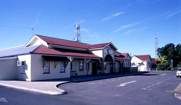 Wall Art - Painting - Maryborough Railway Station Complex And Air Raid Shelter  Front Entry  1997 by Celestial Images