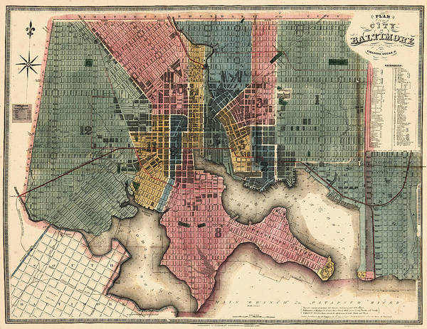 Old Town Digital Art - Maryland, 1822, Baltimore Revised by Historic Map Works Llc