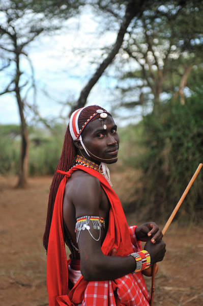 Headband Photograph - Masai Outdoors In Traditional Clothing by Christophe cerisier