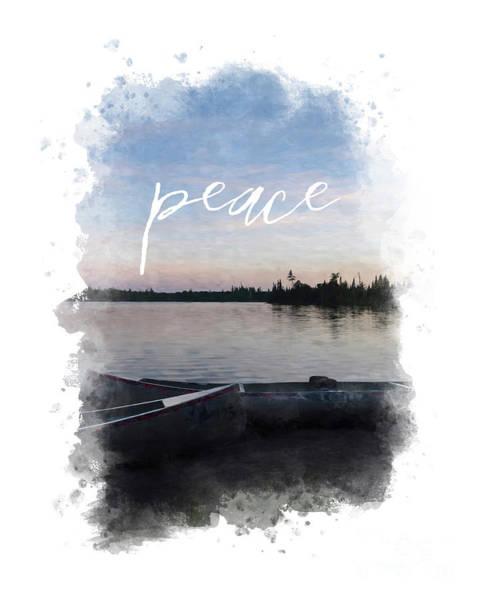 Masculine Wall Art, Peaceful Canoe At Sunset By Lake Art Print