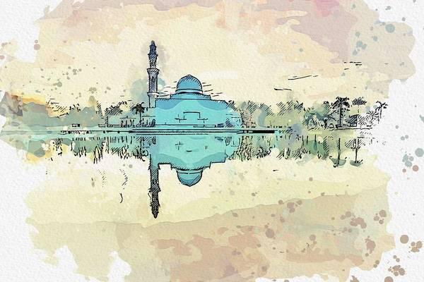 Wall Art - Painting - Masjid Tengku Tengah Zaharah - Masjid Terapung Floating Mosque  C2019, Watercolor By Adam Asar by Adam Asar