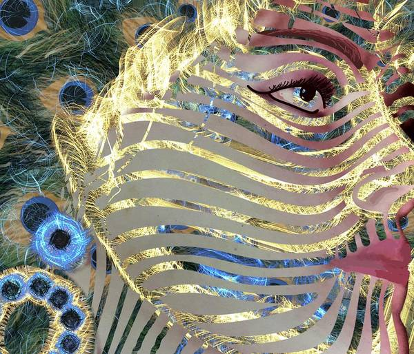 Mixed Media - Mask A Golden Peacock by Joan Stratton