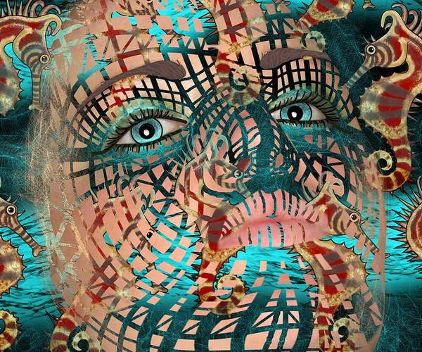 Mixed Media - Mask Dreaming Of The Sea by Joan Stratton