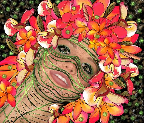 Mixed Media - Mask Freckles And Flowers by Joan Stratton