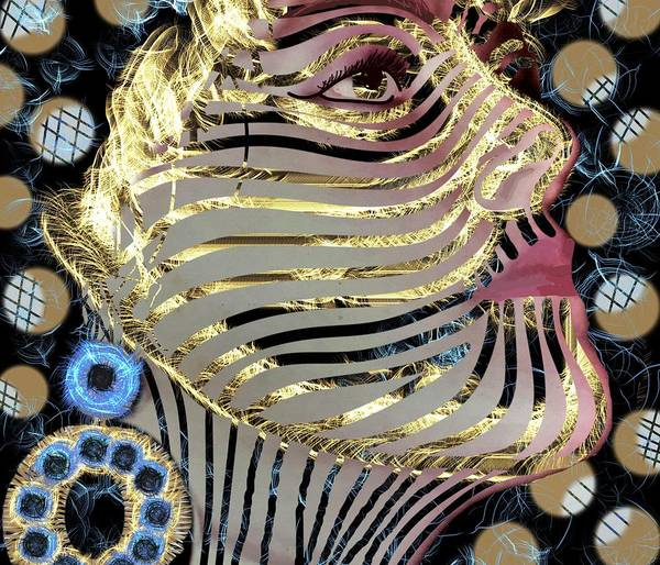 Wall Art - Mixed Media - Mask Is Golden 1 by Joan Stratton