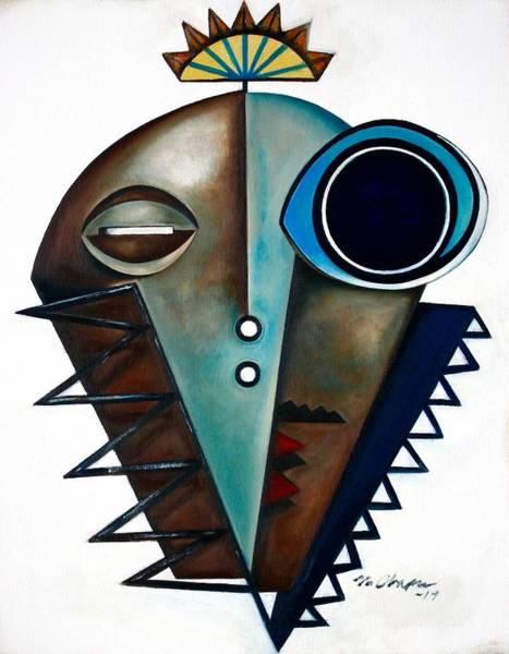 Wall Art - Painting - Mask / Modern Saxophonist by Martel Chapman