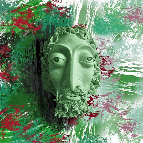 Ceramic Art - Mask The Saviour by Joan Stratton