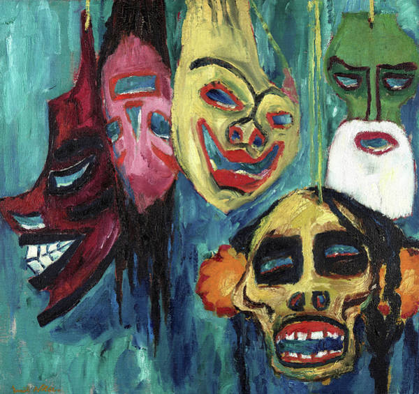 Wall Art - Painting - Masks, 1911 by Emil Nolde