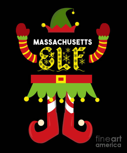 Ugly Digital Art - Massachusetts Elf Xmas Elf Santa Helper Christmas by TeeQueen2603