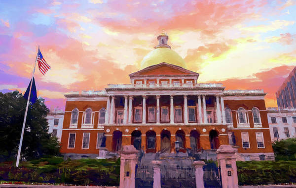 Painting - Massachusetts State House #painting #painterly #architecture by Andrea Anderegg