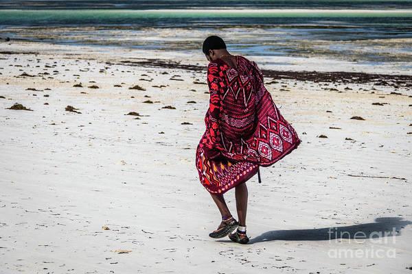 Photograph - Massai On The Beach, Zanzibar, Tanzania by Lyl Dil Creations