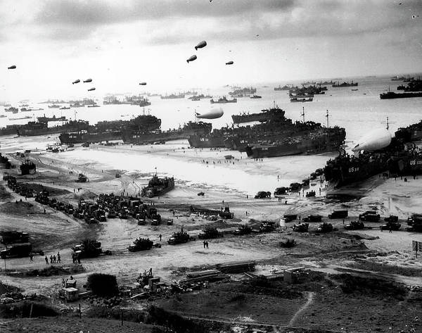 D Day Photograph - Massive Landing And Deployment Of Us Tro by Time Life Pictures