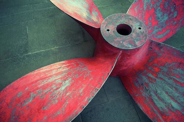 Photograph - Massive Propeller Distressed Red by Peskymonkey