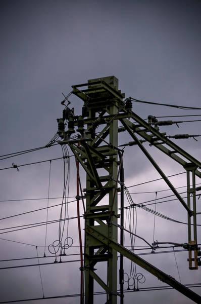 Photograph - Mast Overhead Line Rail. by Anjo Ten Kate