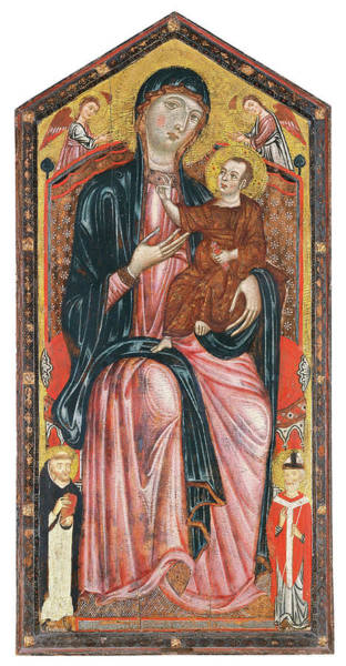 0 Painting - Master Of The Magdalen -active In Florence Ca. 1265 And 1290-. The Virgin And Child Enthroned Wit... by Master of the Magdalen -fl c 1265-c 1290-