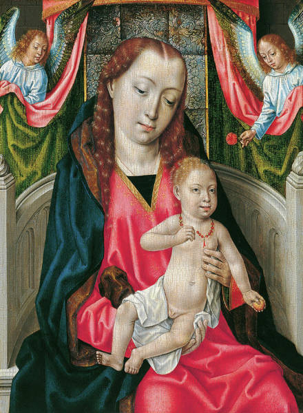 0 Painting - Master Of The Saint Ursula Legend -active In Bruges Ca. 1470 - 1500-. The Virgin And Child With T... by Master of the Saint Ursula Legend -15th-16th cent -
