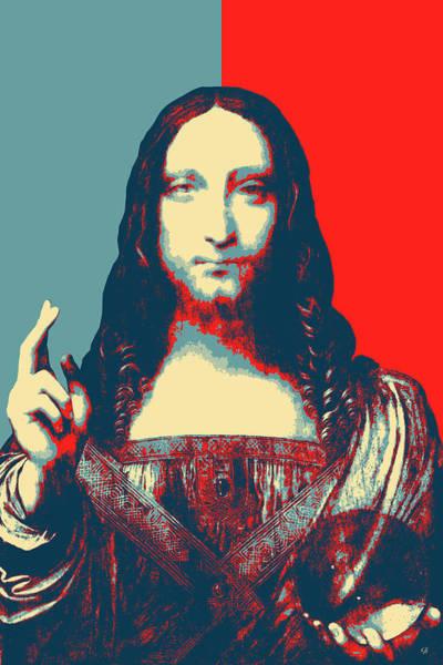Digital Art - Masterpieces Revisited - Savior Of The World By Leonardo Da Vinci by Serge Averbukh