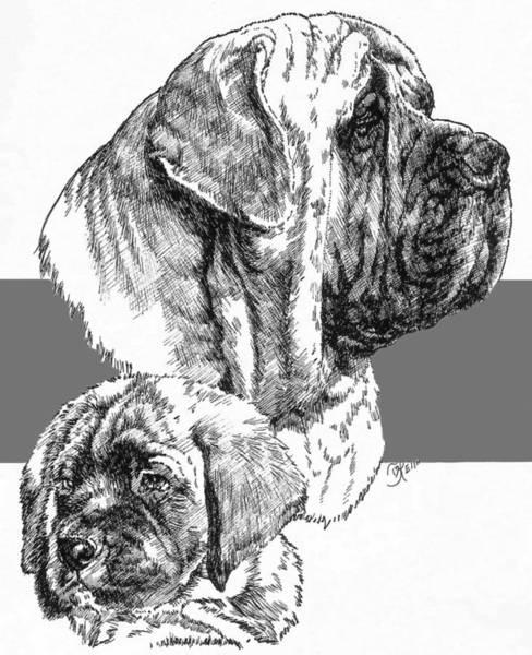 Drawing - Mastiff And Pup by Barbara Keith
