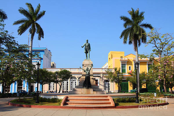 Matanzas, Cuba - Main Square. Palm Art Print