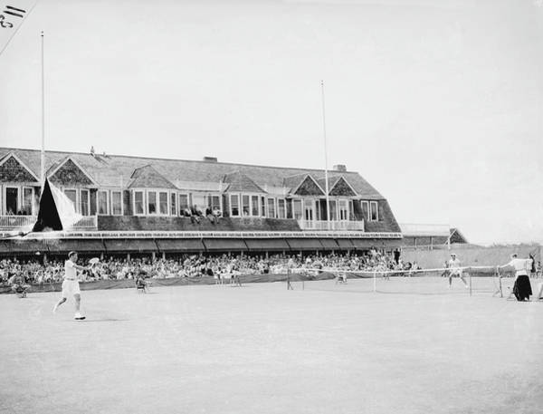 Court Photograph - Match At The Meadow Club by Bert Morgan