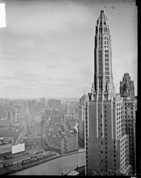 Chicago Photograph - Mather Tower & Chicago Skyline by Chicago History Museum
