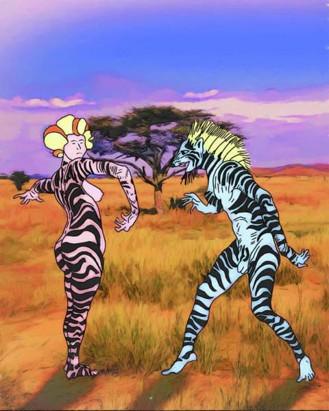 Digital Art - Mating Dance Of The Serengeti by John Haldane