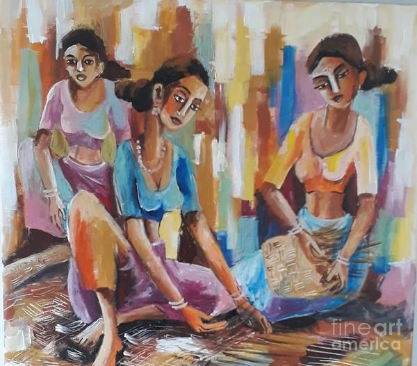 Wall Art - Painting - Mats Weavers by Sudumenike Wijesooriya