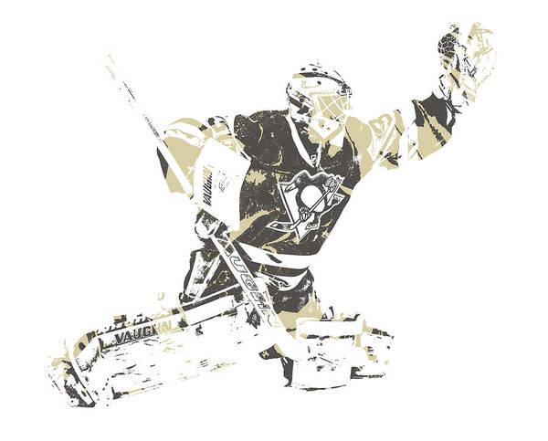 Wall Art - Mixed Media - Matt Murray Pittsburgh Penguins Pixel Art 3 by Joe Hamilton