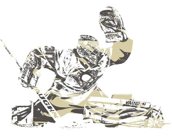 Wall Art - Mixed Media - Matt Murray Pittsburgh Penguins Pixel Art 4 by Joe Hamilton