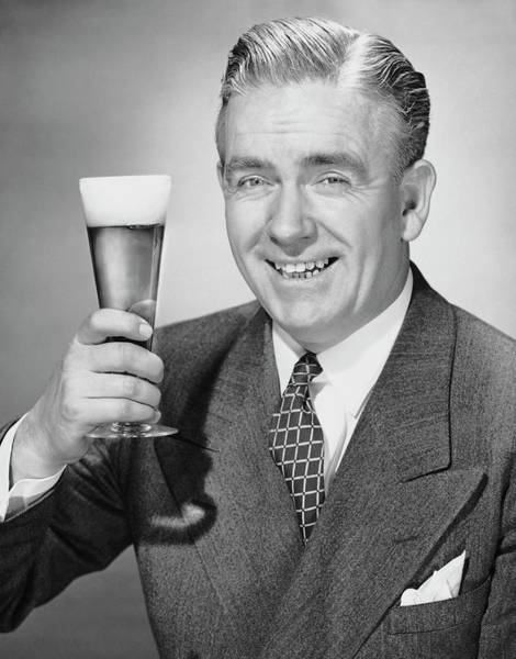 Drunk Photograph - Mature Businessman W Beer by George Marks