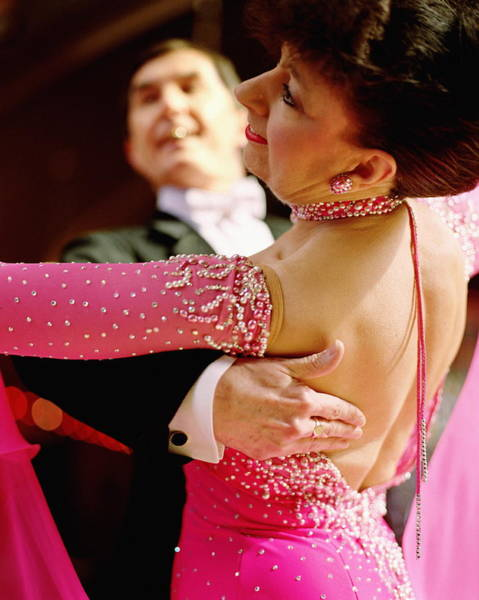 Mature Couple Ballroom Dancing, Close-up Art Print