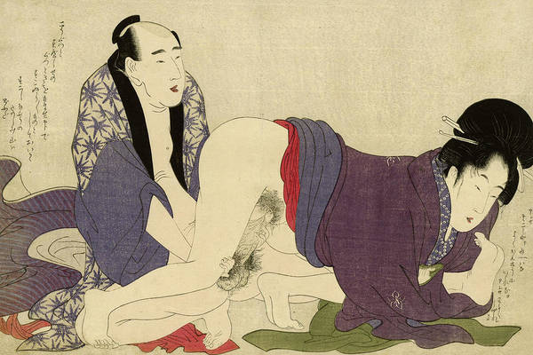 Wall Art - Painting - Mature Couple Making Love, 1799 by Kitagawa Utamaro